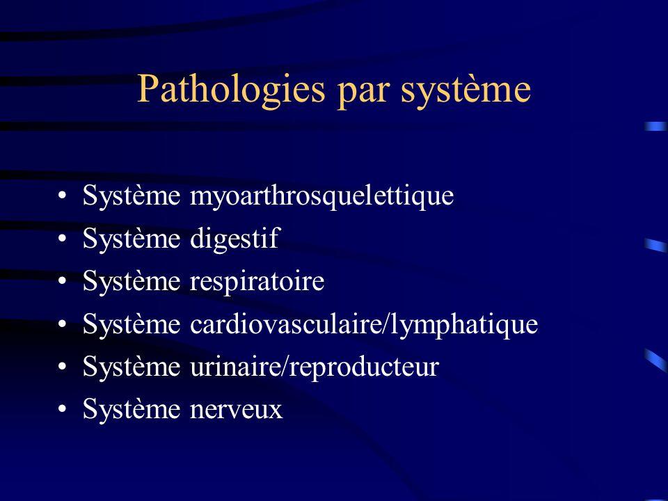 Pathologies par système Système myoarthrosquelettique Système digestif Système respiratoire Système cardiovasculaire/lymphatique Système urinaire/repr