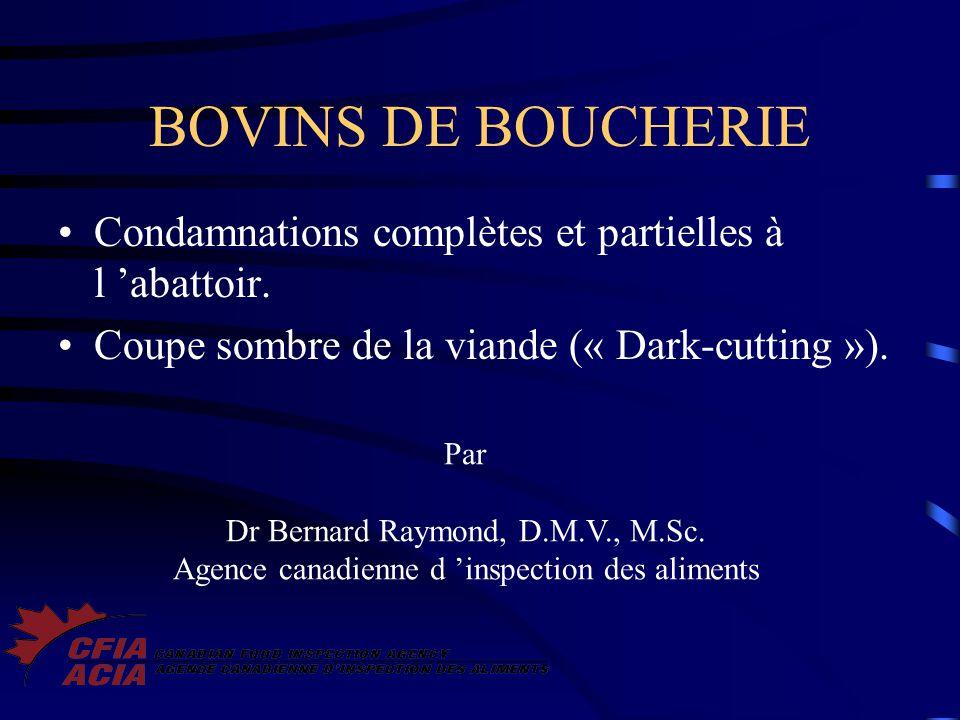 BOVINS DE BOUCHERIE Condamnations complètes et partielles à l abattoir. Coupe sombre de la viande (« Dark-cutting »). Par Dr Bernard Raymond, D.M.V.,