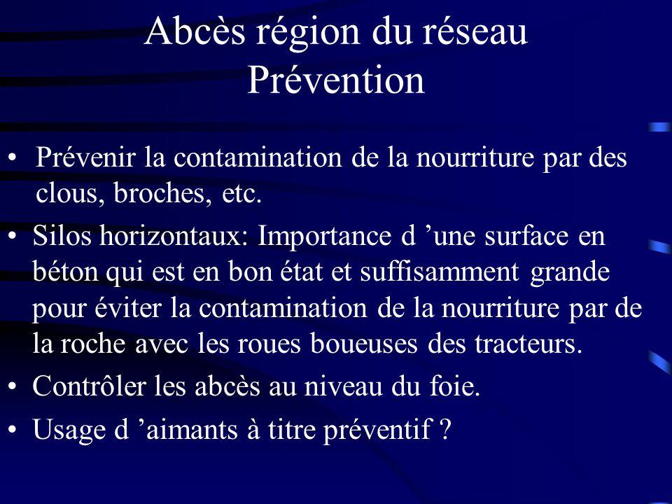 Abcès région du réseau Prévention Silos horizontaux: Importance d une surface en béton qui est en bon état et suffisamment grande pour éviter la conta