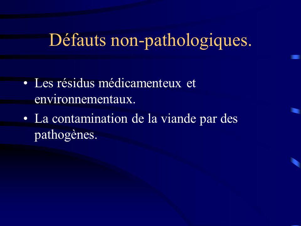 Défauts non-pathologiques. Les résidus médicamenteux et environnementaux. La contamination de la viande par des pathogènes.