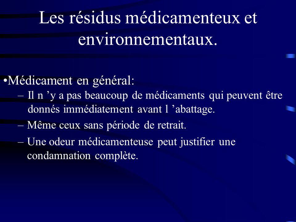 Les résidus médicamenteux et environnementaux. –Même ceux sans période de retrait. –Une odeur médicamenteuse peut justifier une condamnation complète.