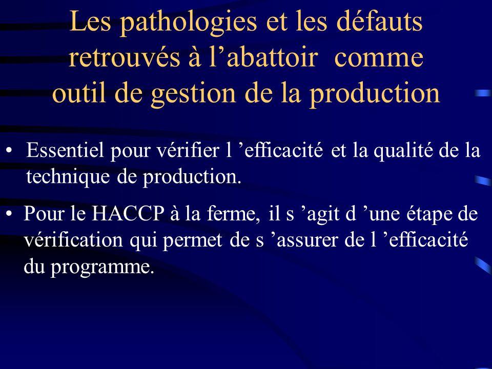 Les pathologies et les défauts retrouvés à labattoir comme outil de gestion de la production Pour le HACCP à la ferme, il s agit d une étape de vérifi