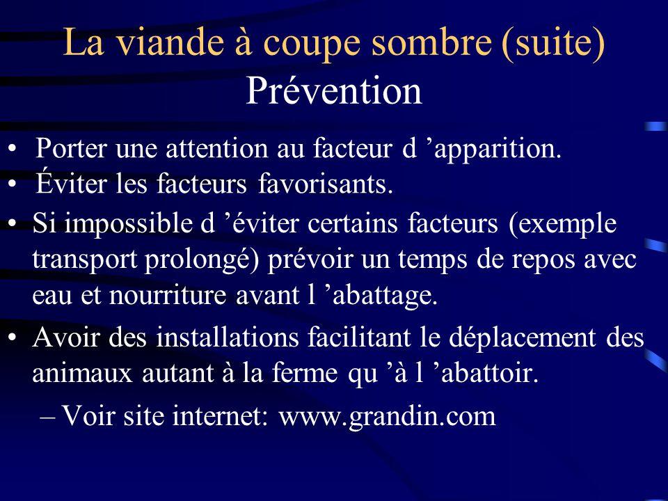 La viande à coupe sombre (suite) Prévention Si impossible d éviter certains facteurs (exemple transport prolongé) prévoir un temps de repos avec eau e