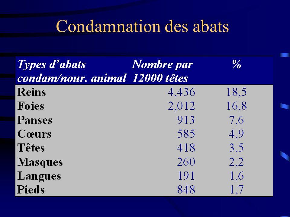 Pertes économiques reliés aux condamnations partielles et la qualité –54% des carcasses avec meurtrissures.