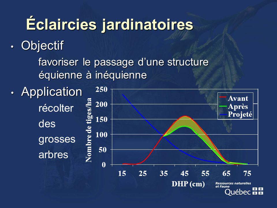 Objectif Objectif favoriser le passage dune structure équienne à inéquienne Éclaircies jardinatoires Application Application récolter des grosses arbr