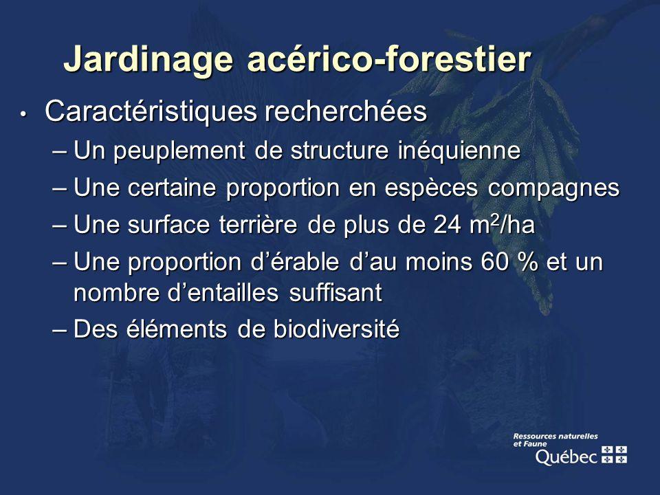 Jardinage acérico-forestier Caractéristiques recherchées Caractéristiques recherchées –Un peuplement de structure inéquienne –Une certaine proportion
