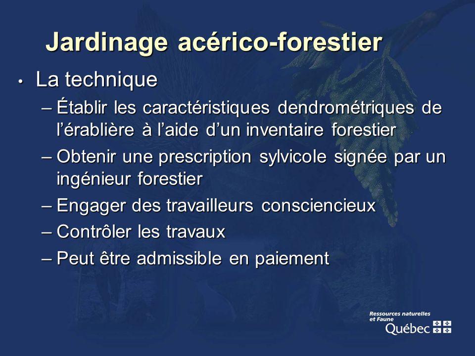 La technique La technique –Établir les caractéristiques dendrométriques de lérablière à laide dun inventaire forestier –Obtenir une prescription sylvi