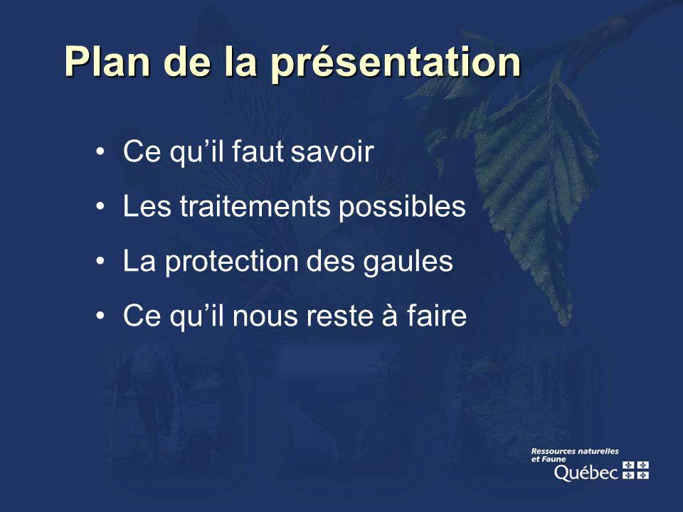 Plan de la présentation Ce quil faut savoir Les traitements possibles La protection des gaules Ce quil nous reste à faire