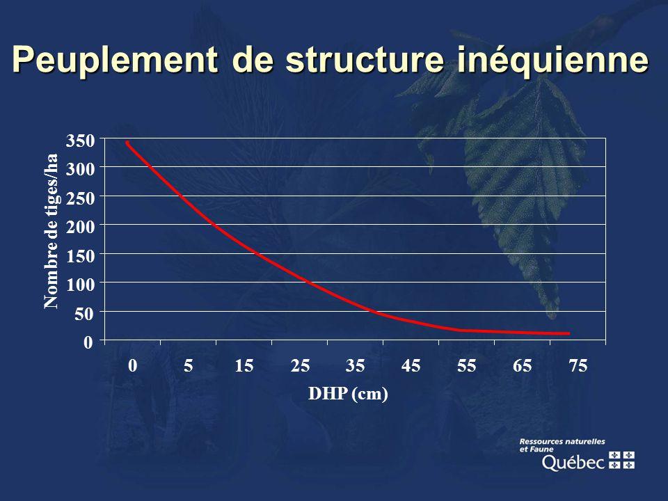 Peuplement de structure inéquienne 0 50 100 150 200 250 300 350 0515253545556575 DHP (cm) Nombre de tiges/ha