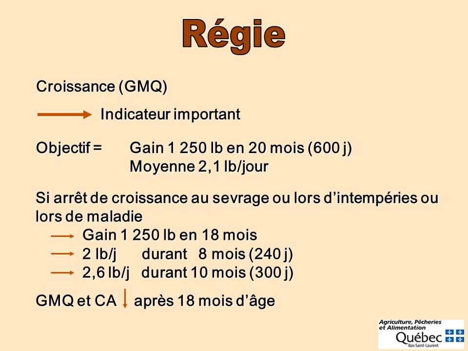 Croissance (GMQ) Indicateur important Indicateur important Objectif =Gain 1 250 lb en 20 mois (600 j) Moyenne 2,1 lb/jour Si arrêt de croissance au sevrage ou lors dintempéries ou lors de maladie Gain 1 250 lb en 18 mois 2 lb/j durant 8 mois (240 j) 2,6 lb/j durant 10 mois (300 j) GMQ et CA après 18 mois dâge