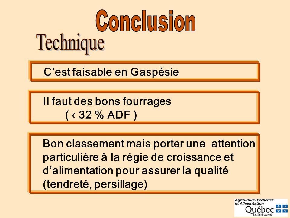 Cest faisable en Gaspésie Il faut des bons fourrages ( 32 % ADF ) Bon classement mais porter une attention particulière à la régie de croissance et dalimentation pour assurer la qualité (tendreté, persillage)