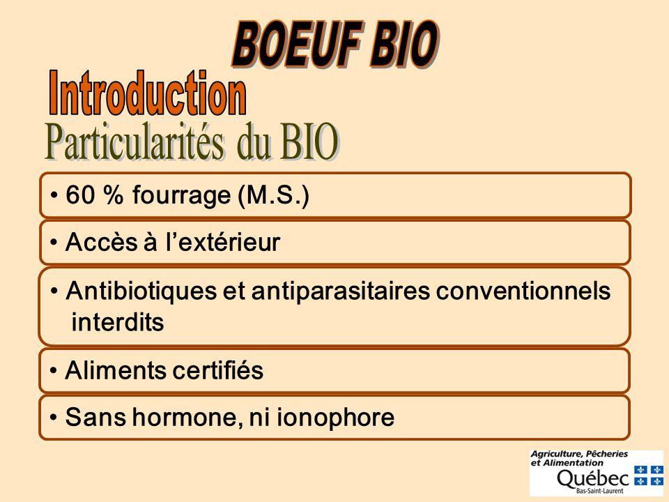 60 % fourrage (M.S.) Accès à lextérieur Antibiotiques et antiparasitaires conventionnels interdits Aliments certifiés Sans hormone, ni ionophore