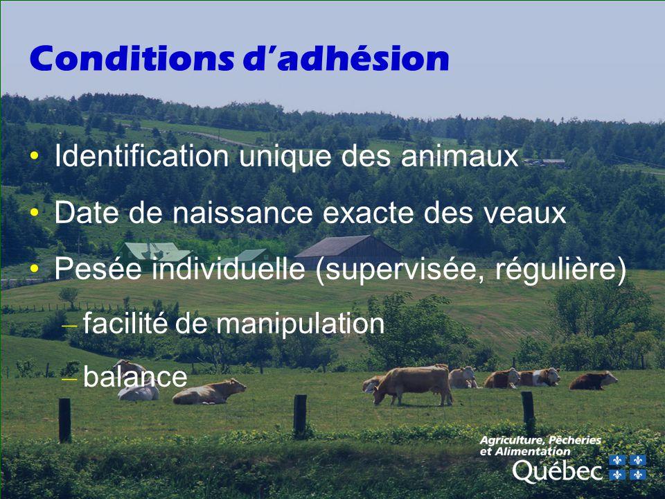Conditions dadhésion Identification unique des animaux Date de naissance exacte des veaux Pesée individuelle (supervisée, régulière) – facilité de manipulation – balance
