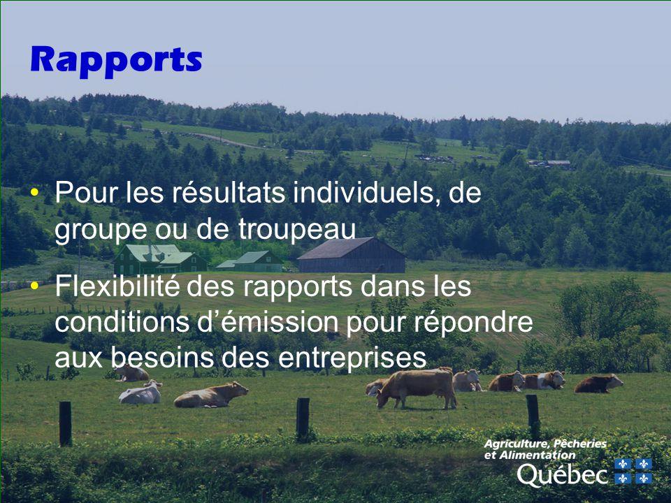 Rapports Pour les résultats individuels, de groupe ou de troupeau Flexibilité des rapports dans les conditions démission pour répondre aux besoins des entreprises
