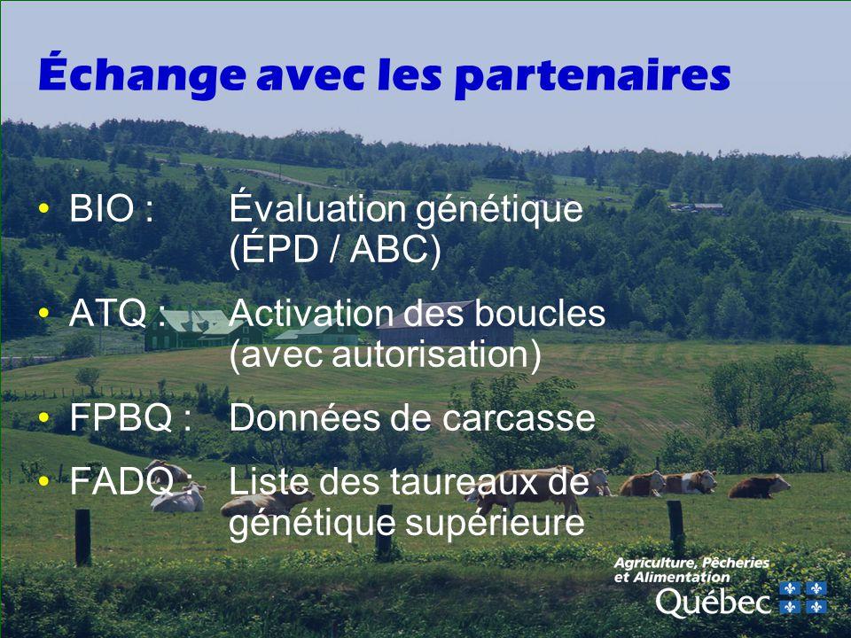 Échange avec les partenaires BIO :Évaluation génétique (ÉPD / ABC) ATQ :Activation des boucles (avec autorisation) FPBQ :Données de carcasse FADQ :Liste des taureaux de génétique supérieure