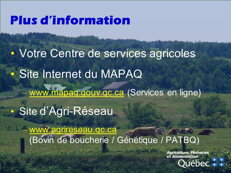 Plus dinformation Votre Centre de services agricoles Site Internet du MAPAQ – www.mapaq.gouv.qc.ca (Services en ligne) Site dAgri-Réseau – www.agrireseau.qc.ca (Bovin de boucherie / Génétique / PATBQ)