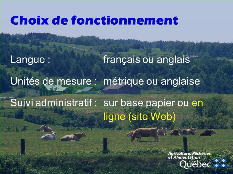 Choix de fonctionnement Langue : français ou anglais Unités de mesure : métrique ou anglaise Suivi administratif : sur base papier ou en ligne (site Web)