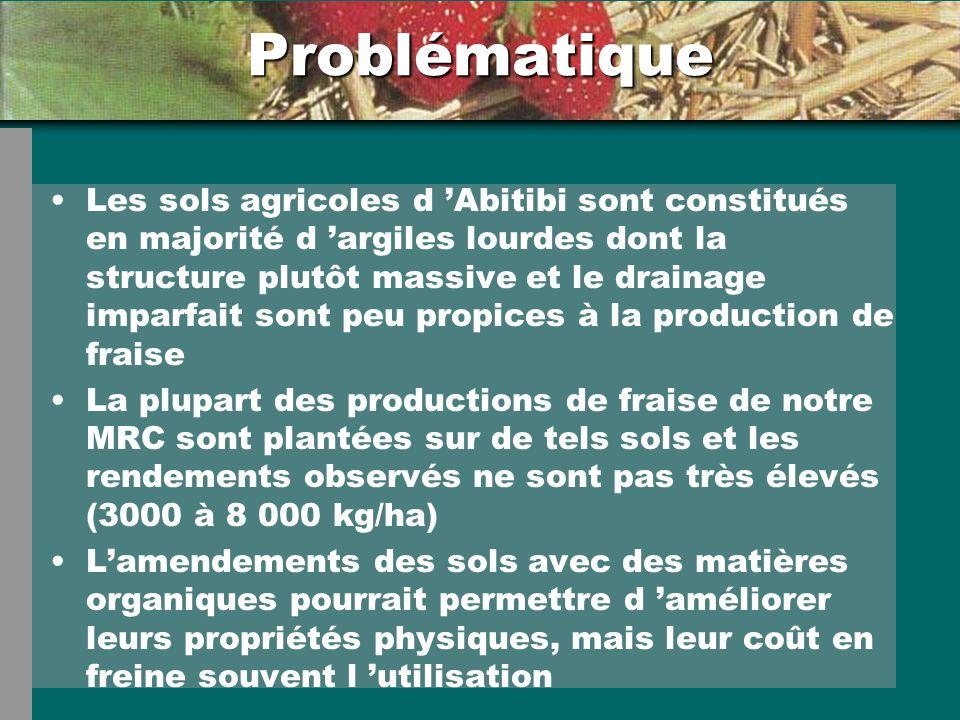 Problématique Les sols agricoles d Abitibi sont constitués en majorité d argiles lourdes dont la structure plutôt massive et le drainage imparfait son