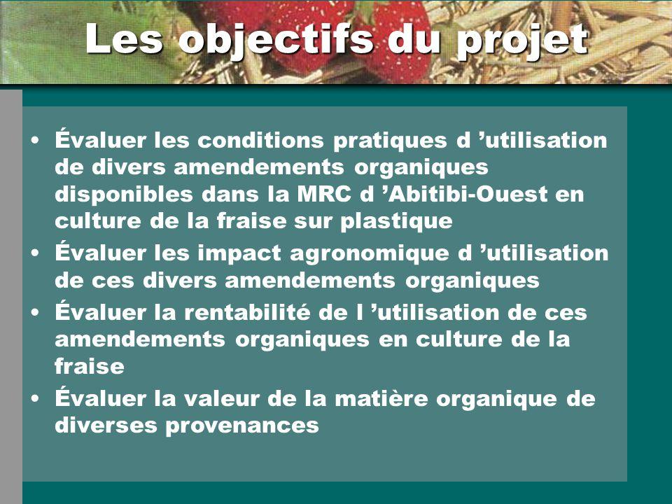 Les objectifs du projet Évaluer les conditions pratiques d utilisation de divers amendements organiques disponibles dans la MRC d Abitibi-Ouest en cul