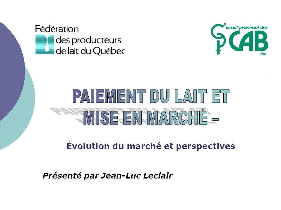Évolution du marché et perspectives Présenté par Jean-Luc Leclair