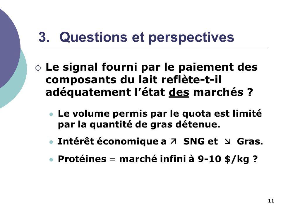 11 3.Questions et perspectives Le signal fourni par le paiement des composants du lait reflète-t-il adéquatement létat des marchés ? Le volume permis