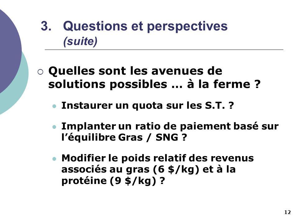 12 3.Questions et perspectives (suite) Quelles sont les avenues de solutions possibles … à la ferme ? Instaurer un quota sur les S.T. ? Implanter un r