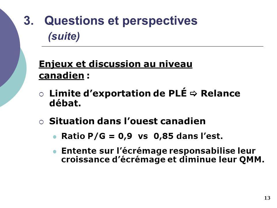 13 3.Questions et perspectives (suite) Enjeux et discussion au niveau canadien : Limite dexportation de PLÉ Relance débat. Situation dans louest canad