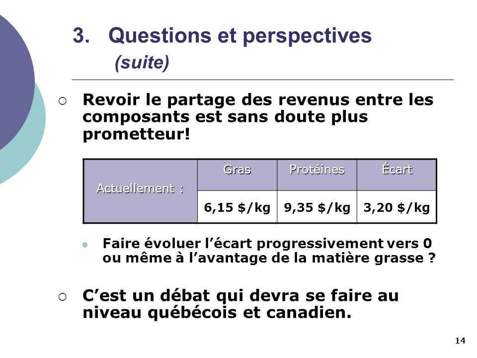 14 3.Questions et perspectives (suite) Revoir le partage des revenus entre les composants est sans doute plus prometteur! Faire évoluer lécart progres