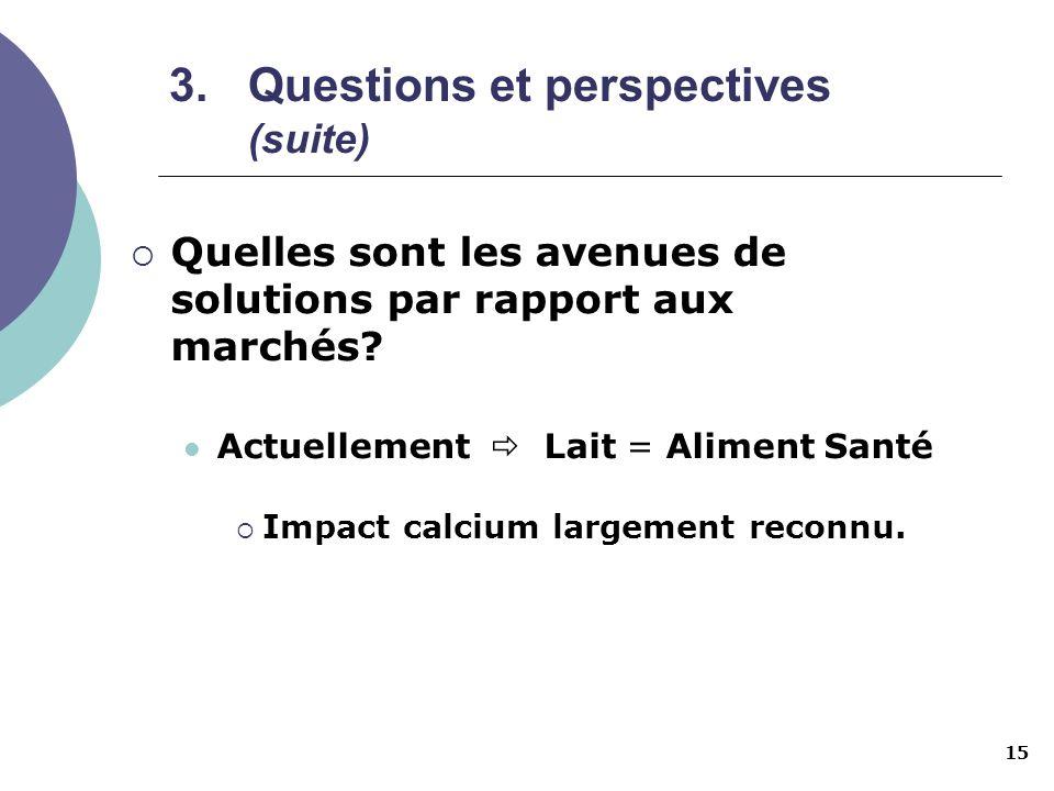 15 3.Questions et perspectives (suite) Quelles sont les avenues de solutions par rapport aux marchés? Actuellement Lait = Aliment Santé Impact calcium