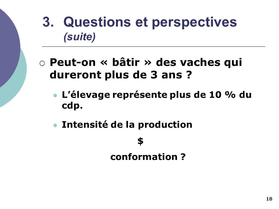 18 3.Questions et perspectives (suite) Peut-on « bâtir » des vaches qui dureront plus de 3 ans ? Lélevage représente plus de 10 % du cdp. Intensité de