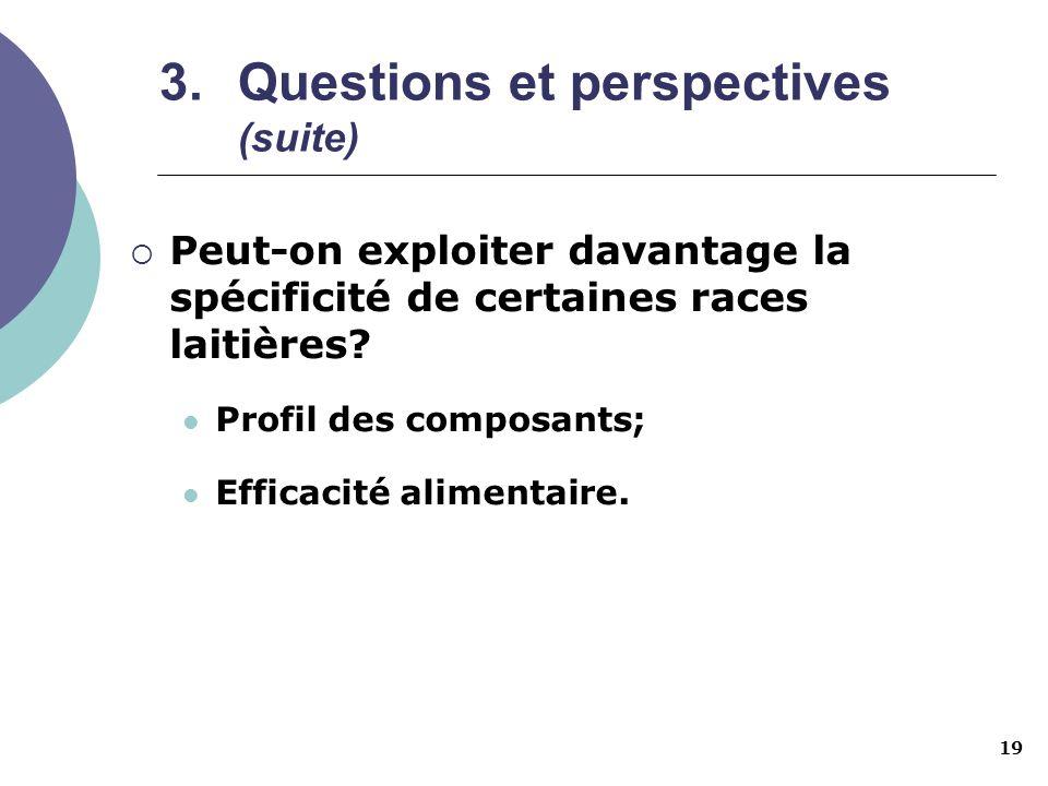 19 3.Questions et perspectives (suite) Peut-on exploiter davantage la spécificité de certaines races laitières? Profil des composants; Efficacité alim