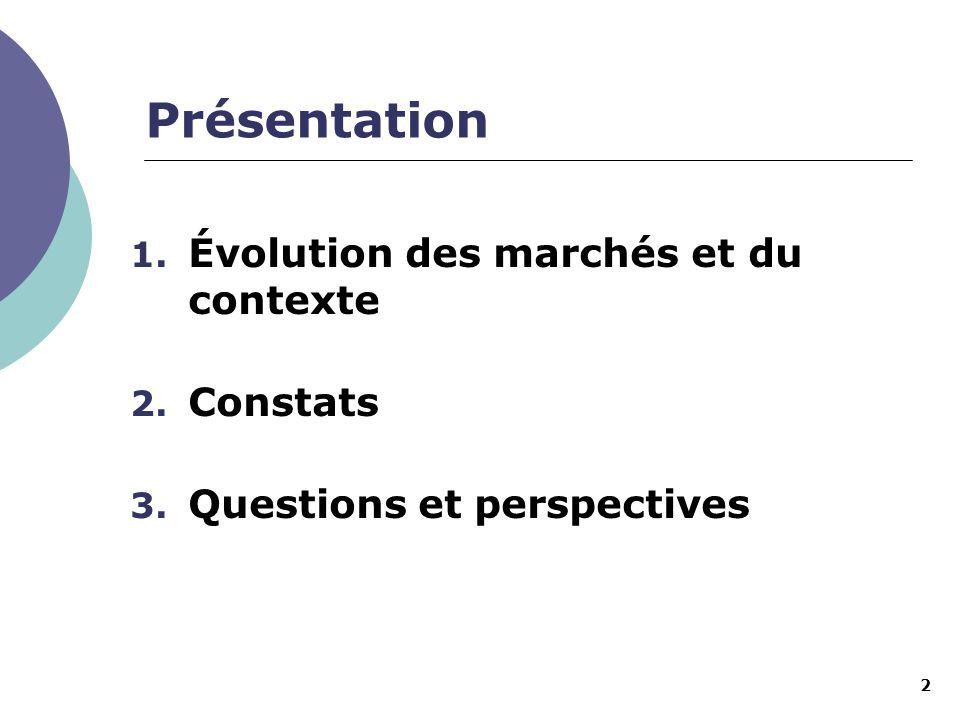 2 Présentation 1. Évolution des marchés et du contexte 2. Constats 3. Questions et perspectives