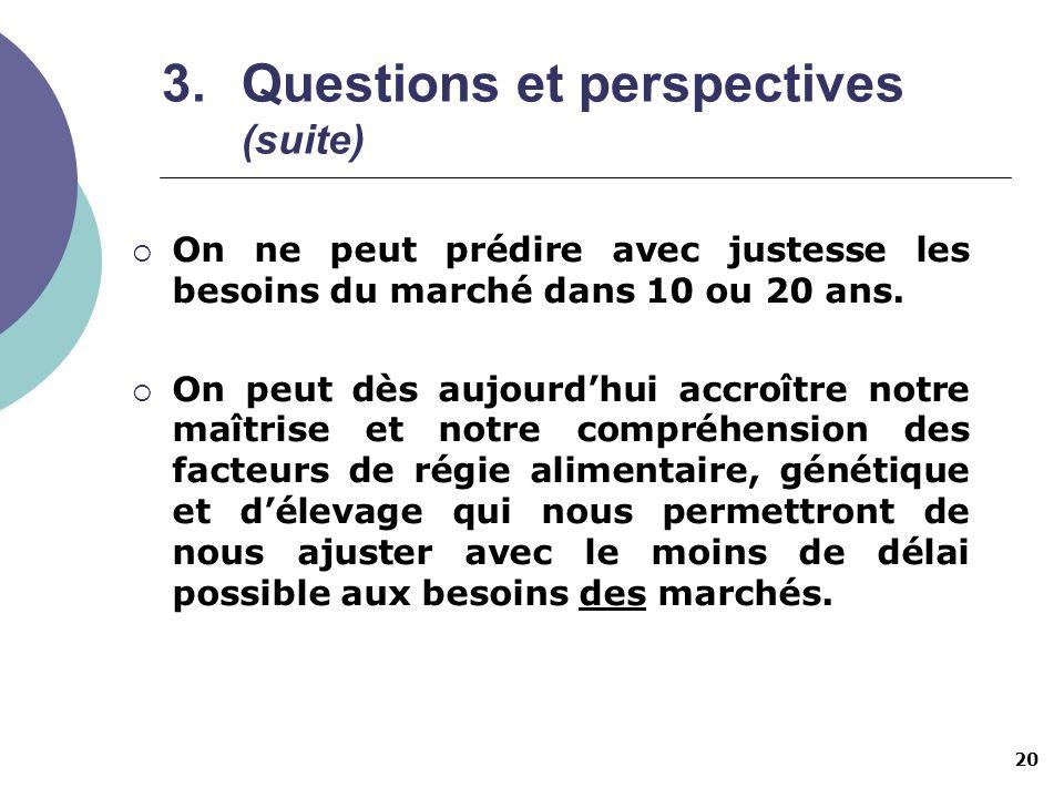 20 3.Questions et perspectives (suite) On ne peut prédire avec justesse les besoins du marché dans 10 ou 20 ans. On peut dès aujourdhui accroître notr