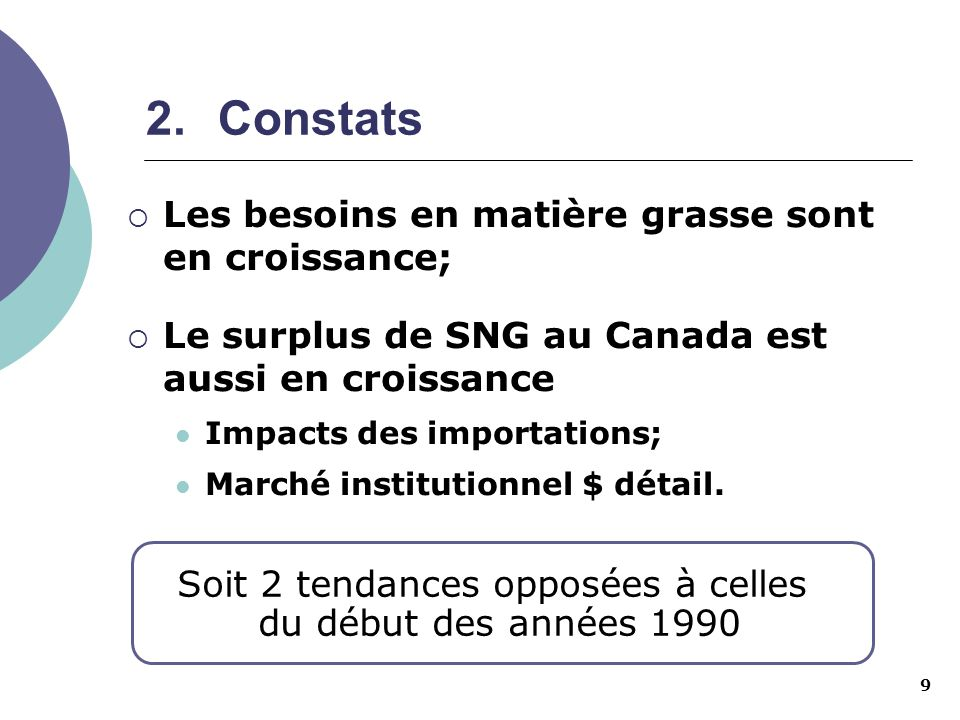 9 2.Constats Les besoins en matière grasse sont en croissance; Le surplus de SNG au Canada est aussi en croissance Impacts des importations; Marché in