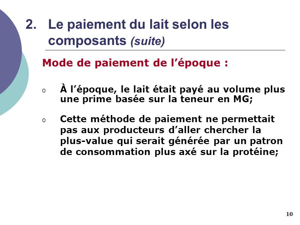 10 2.Le paiement du lait selon les composants (suite) Mode de paiement de lépoque : o À lépoque, le lait était payé au volume plus une prime basée sur