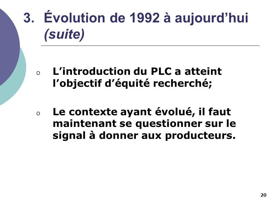 20 o Lintroduction du PLC a atteint lobjectif déquité recherché; o Le contexte ayant évolué, il faut maintenant se questionner sur le signal à donner