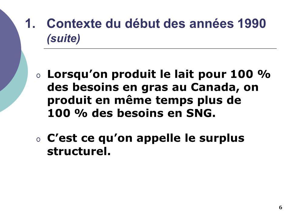 7 1.Contexte du début des années 1990 (suite) o Ces tendances font également chuter les surplus structurels de PLÉ.