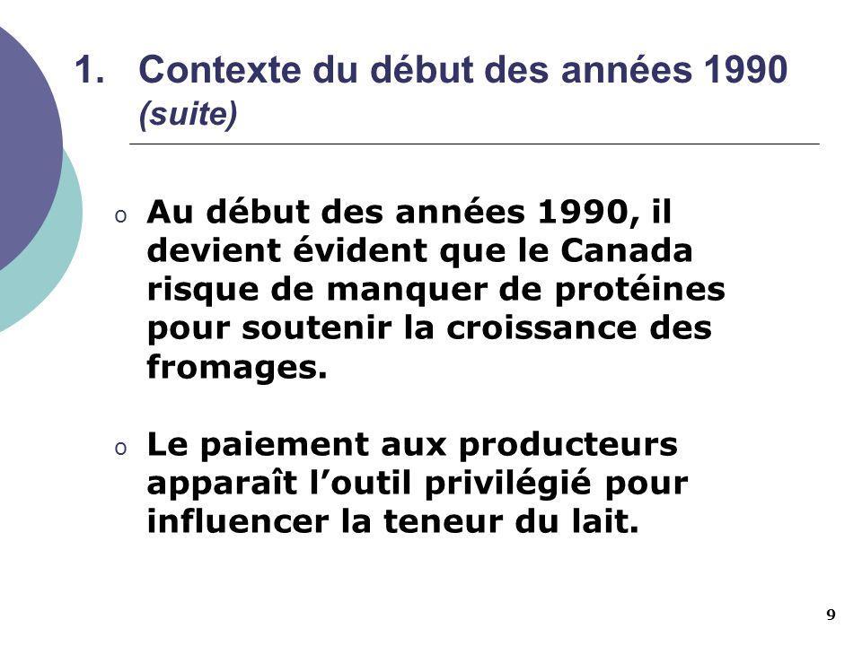 9 1.Contexte du début des années 1990 (suite) o Au début des années 1990, il devient évident que le Canada risque de manquer de protéines pour souteni