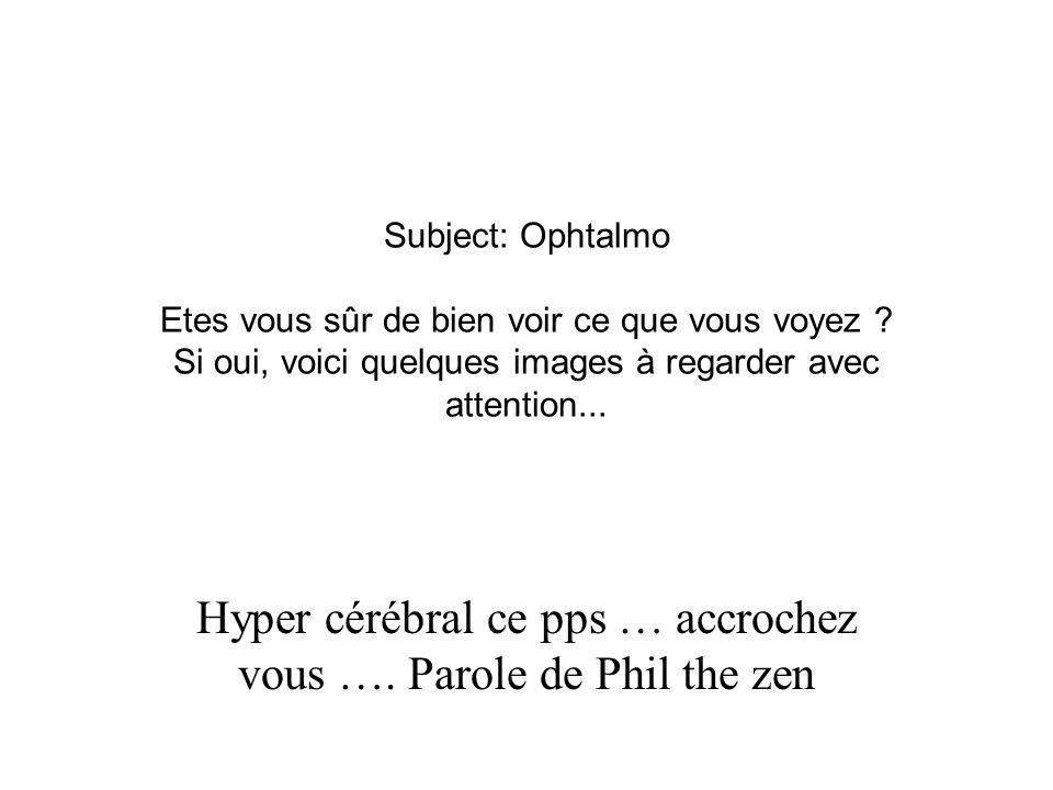 Subject: Ophtalmo Etes vous sûr de bien voir ce que vous voyez ? Si oui, voici quelques images à regarder avec attention... Hyper cérébral ce pps … ac