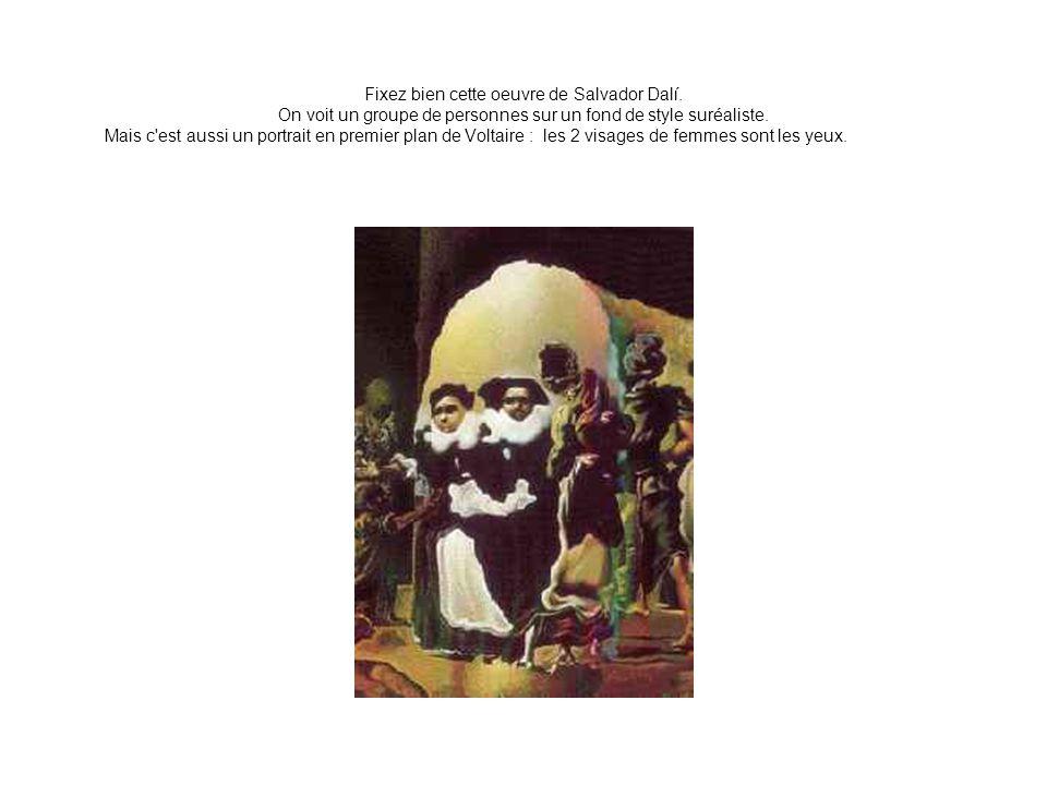 Fixez bien cette oeuvre de Salvador Dalí. On voit un groupe de personnes sur un fond de style suréaliste. Mais c'est aussi un portrait en premier plan