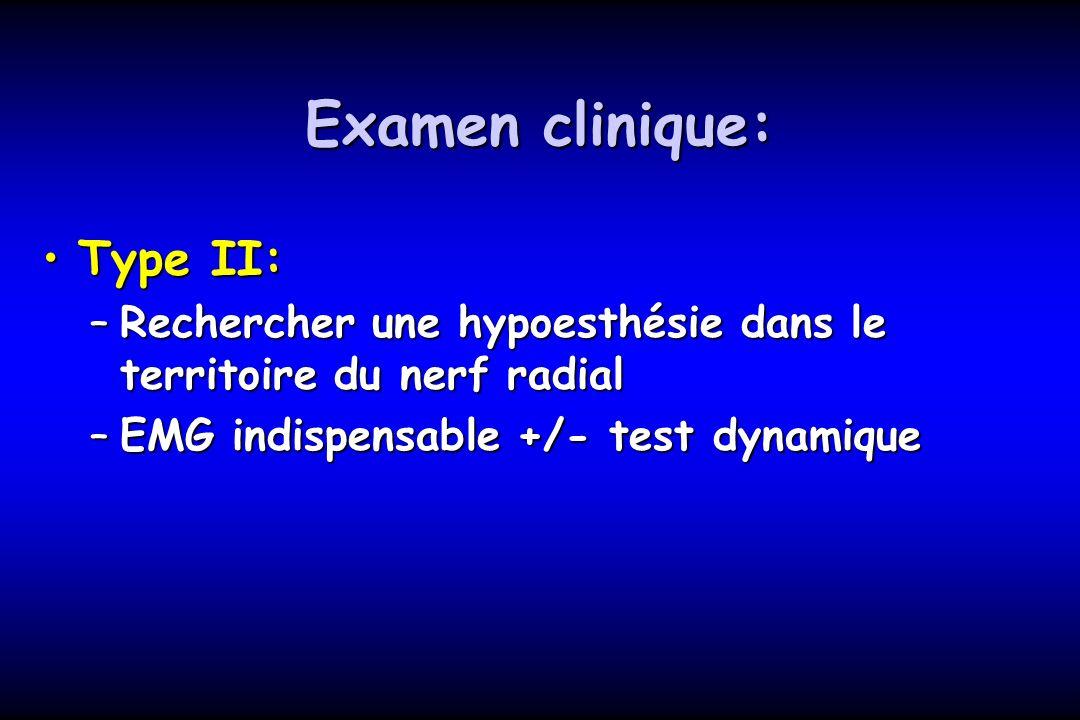 Examen clinique: Type II:Type II: –Rechercher une hypoesthésie dans le territoire du nerf radial –EMG indispensable +/- test dynamique