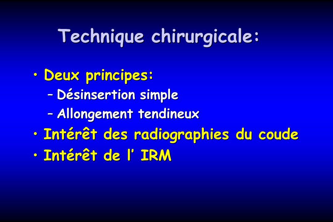 Technique chirurgicale: Deux principes:Deux principes: –Désinsertion simple –Allongement tendineux Intérêt des radiographies du coudeIntérêt des radio