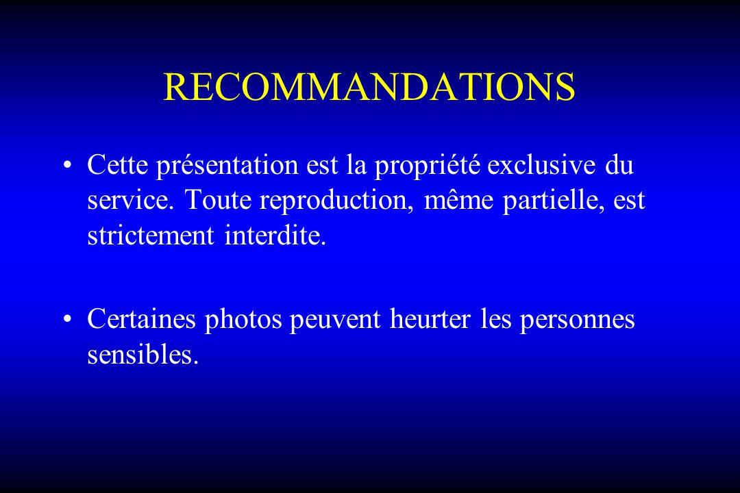 RECOMMANDATIONS Cette présentation est la propriété exclusive du service. Toute reproduction, même partielle, est strictement interdite. Certaines pho