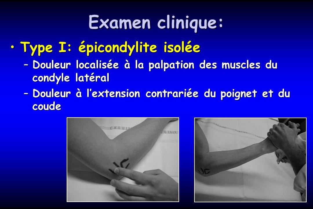 Examen clinique: Type I: épicondylite isoléeType I: épicondylite isolée –Douleur localisée à la palpation des muscles du condyle latéral –Douleur à le