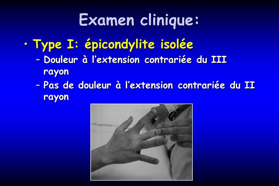 Examen clinique: Type I: épicondylite isoléeType I: épicondylite isolée –Douleur à lextension contrariée du III rayon –Pas de douleur à lextension con