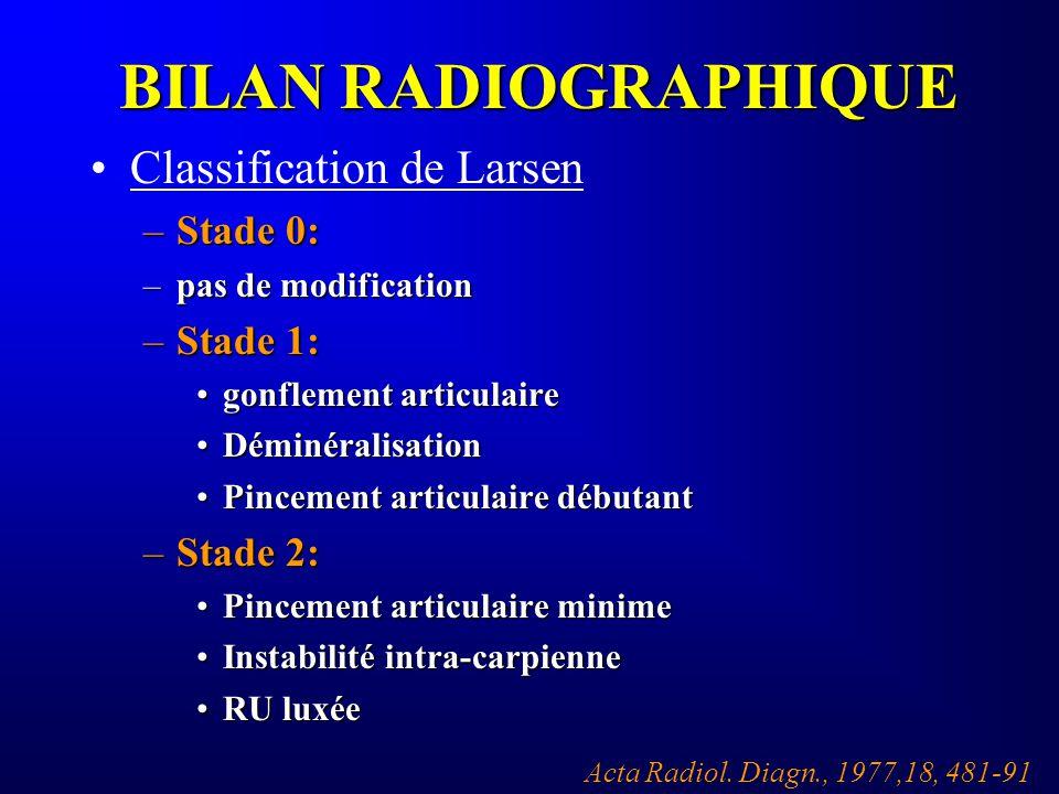 BILAN RADIOGRAPHIQUE Classification de Larsen –Stade 0: –pas de modification –Stade 1: gonflement articulairegonflement articulaire DéminéralisationDé