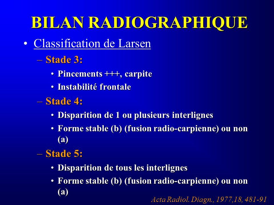 BILAN RADIOGRAPHIQUE Classification de Larsen –Stade 3: Pincements +++, carpitePincements +++, carpite Instabilité frontaleInstabilité frontale –Stade
