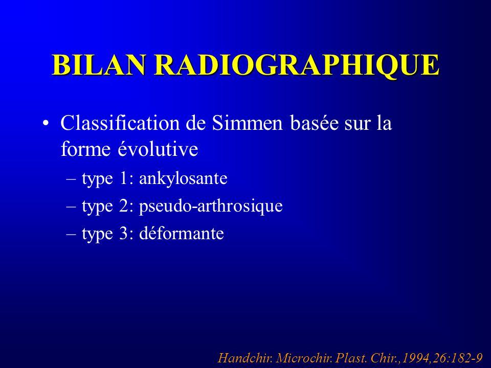BILAN RADIOGRAPHIQUE Classification de Simmen basée sur la forme évolutive –type 1: ankylosante –type 2: pseudo-arthrosique –type 3: déformante Handch