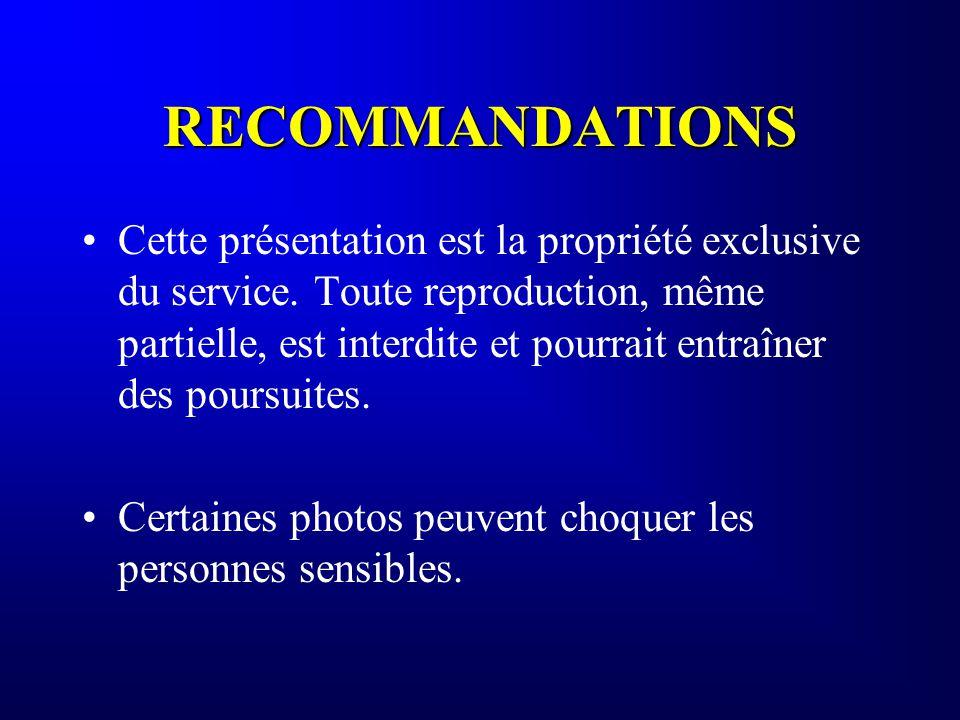 RECOMMANDATIONS Cette présentation est la propriété exclusive du service. Toute reproduction, même partielle, est interdite et pourrait entraîner des