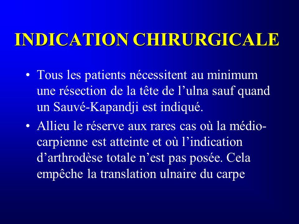 INDICATION CHIRURGICALE Tous les patients nécessitent au minimum une résection de la tête de lulna sauf quand un Sauvé-Kapandji est indiqué. Allieu le